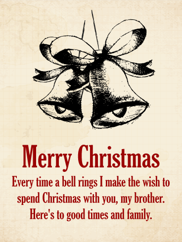 Vintage Merry Christmas Card for Brother