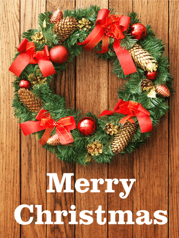 Pine Cone Christmas Wreath Card