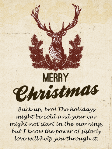 old fashioned hand drawing merry christmas card for brother