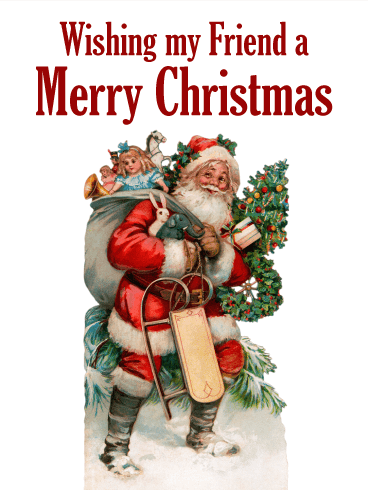 classic santa claus merry christmas card for friends
