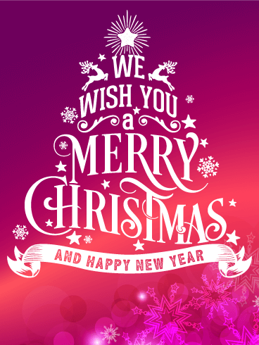 Typographic Style Merry Christmas Card