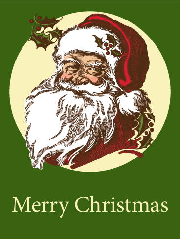 Retro Santa Merry Christmas Card