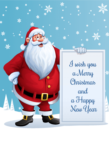 I Wish You a Merry Christmas - Santa Christmas Card