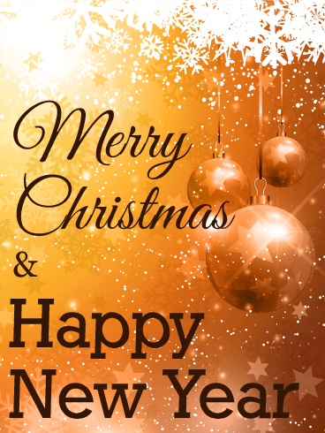 Golden Ornaments Merry Christmas Card