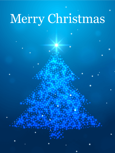 Blue Light Merry Christmas Card