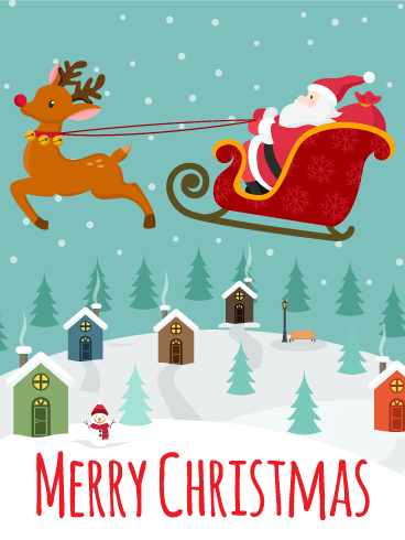 Santa Claus in Town! Merry Christmas Card