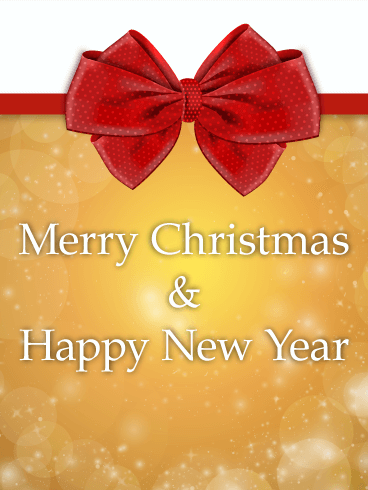 Red Ribbon Merry Christmas Card