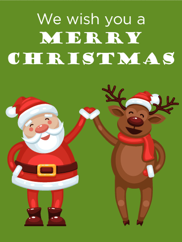 Happy Santa & Reindeer Merry Christmas Card