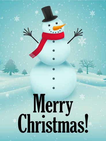Happy Snowman Merry Christmas Card