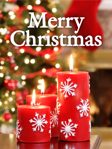 Red Christmas Candle Card