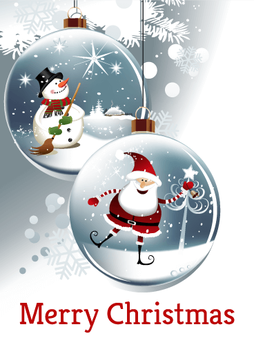 Happy Santa & Snowman Christmas Ornaments Card