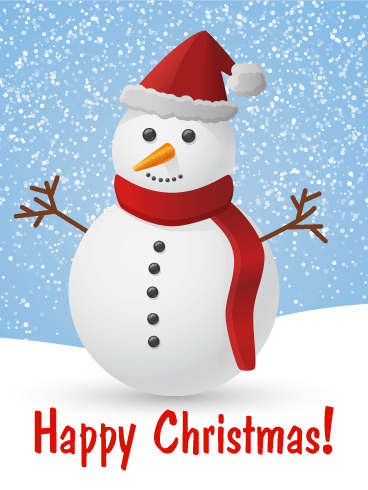 Santa Snowman Merry Christmas Card