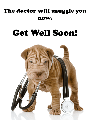 Doctor Snuggles – Animal Get Well Soon Card