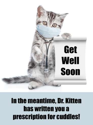 Prescription for Cuddles – Animal Get Well Card