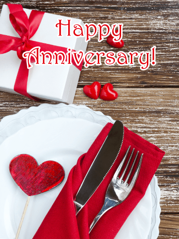 Romantic Dinner – Happy Anniversary Card