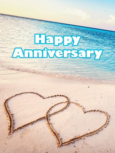 Beach Hearts – Happy Anniversary Card
