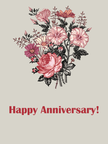 Simple Bouquet – Happy Anniversary Card