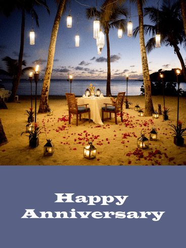 Dinner on the Beach – Happy Anniversary Card