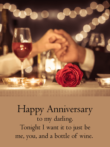 Just Us with Wine – Happy Anniversary Card
