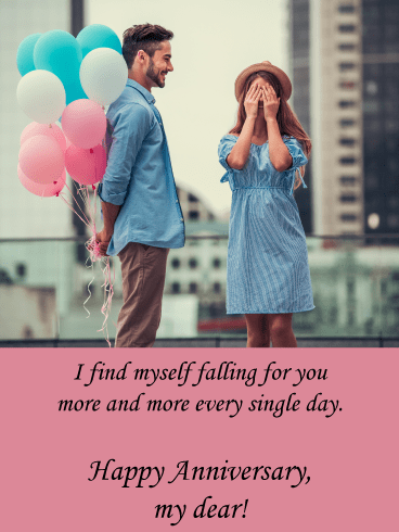Falling for You – Happy Anniversary Card