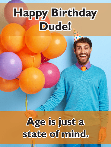 Guy with balloons – Happy Birthday Card for Him