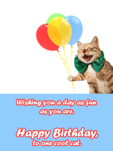 Laughing Cat- Funny Birthday Card for Him