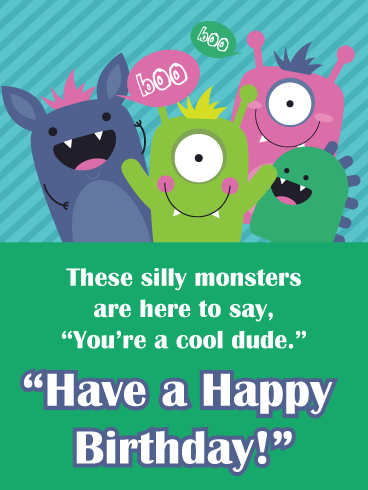 Happy Birthday Monsters – Birthday Card for Boys