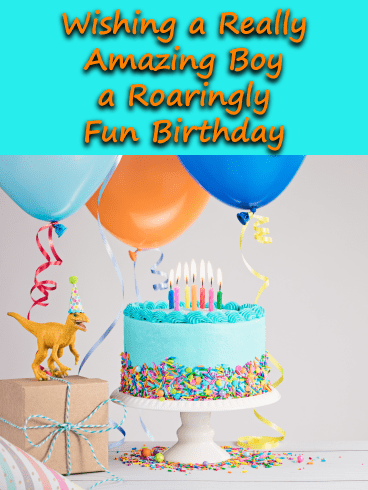 Dino Fun & Delicious Cake – Birthday Card for Boys