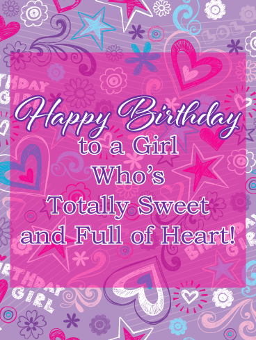 Hearts, Stars & Flowers - Birthday Card for Girls