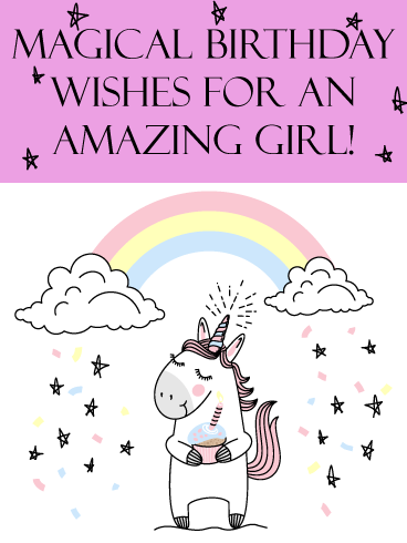 Unicorn Rainbow – Birthday Card for Girls
