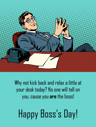 At Your Desk – Pop Art Happy Boss's Day Card