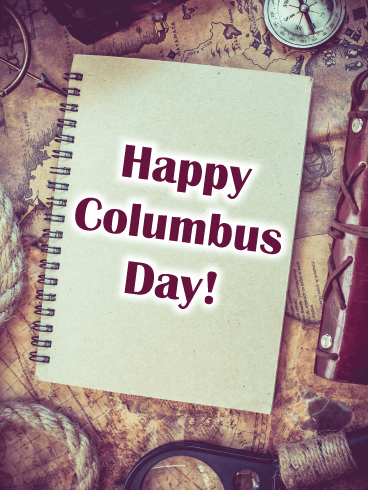Recording the Journey – Columbus Day Card