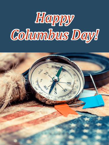 Compass & Flag – Columbus Day Card