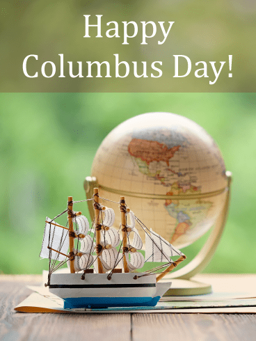Globe & Ship – Columbus Day Card