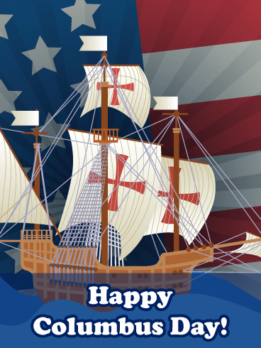 Ship & Flag – Columbus Day Card