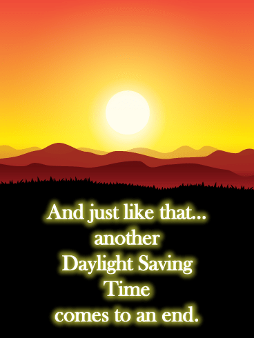 Sunset- Daylight Saving Ends Card