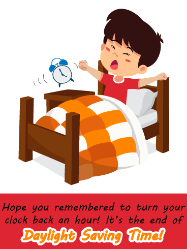 Alarm Clock Boy – Daylight Saving Ends Card