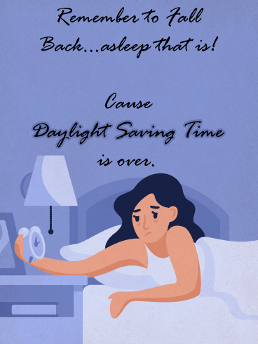 Sleepy Woman – Daylight Saving Ends Card