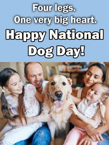 Golden Retriever & Family – Happy Dog Day Card