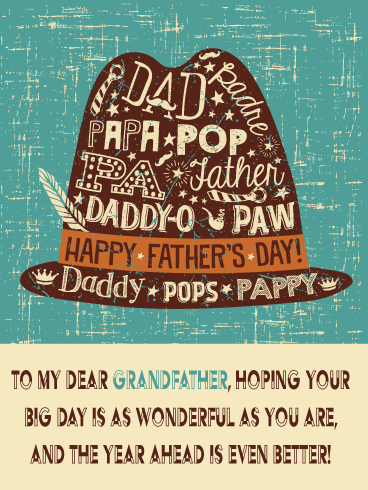 Classic Hat – Happy Father's Day Card for Grandfather
