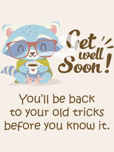 Raccoon Tricks – Get Well Card
