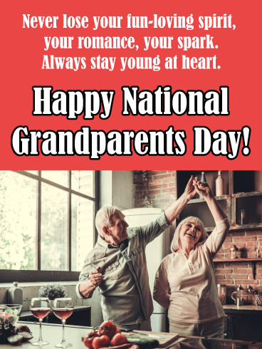 Dancing in kitchen - Grandparents Day card
