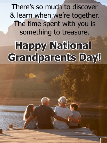 Sitting on dock together - Grandparents Day card