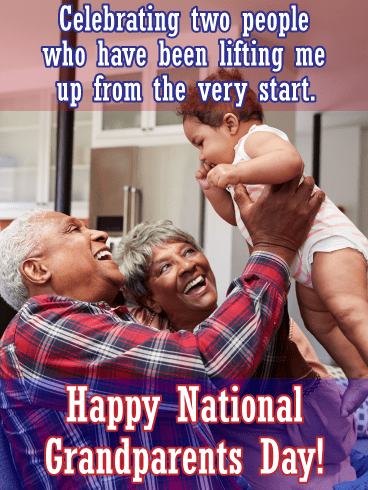 Lifting up baby - Grandparents Day card