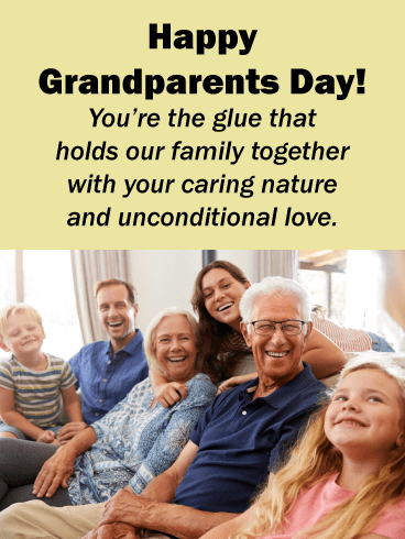 Family taking picture - Grandparents Day card