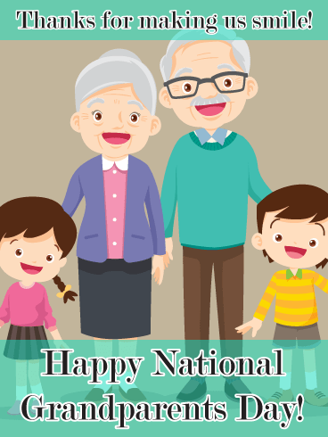 Smiling cartoon grandparents - Grandparents Day card