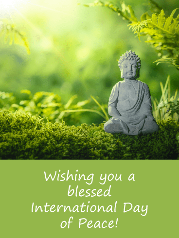 Buddha Statue - International Day of Peace Card