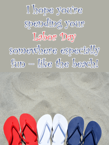 Flip Flops on the Beach- Happy Labor Day Card
