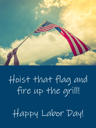 Waving Flag-  Happy Labor Day Card