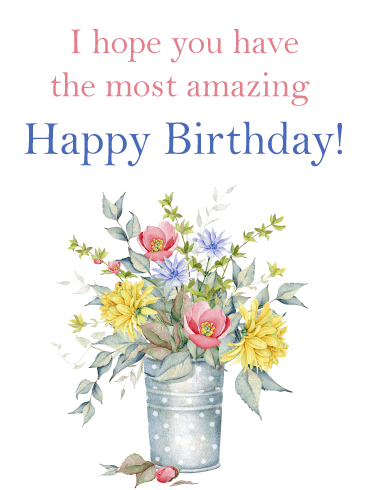 Beautiful Vintage Flowers – Happy Birthday Card